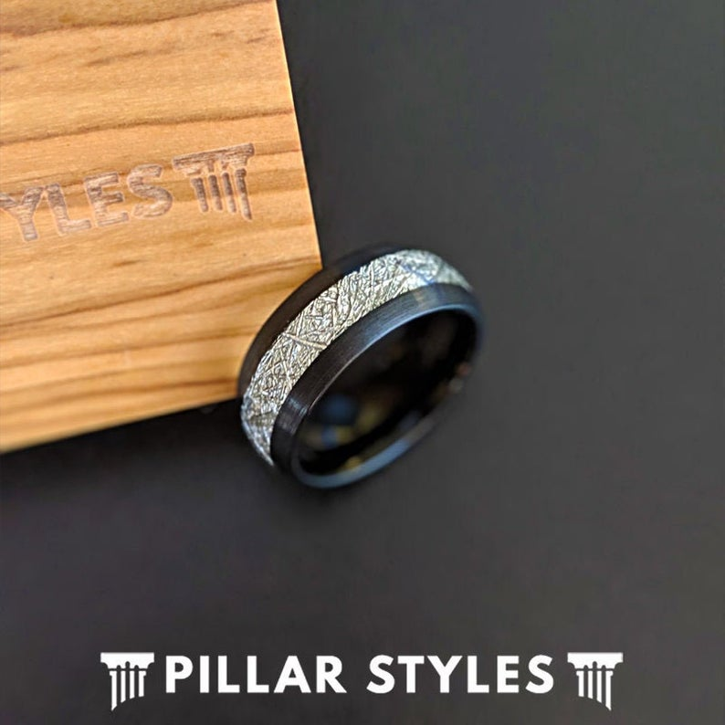 Black Meteorite Ring Mens Wedding Band - Unique Meteorite Wedding Ring for Men Tungsten Ring - Pillar Styles