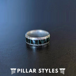 Titanium Damascus Ring with Green Wood Inlay - Pillar Styles