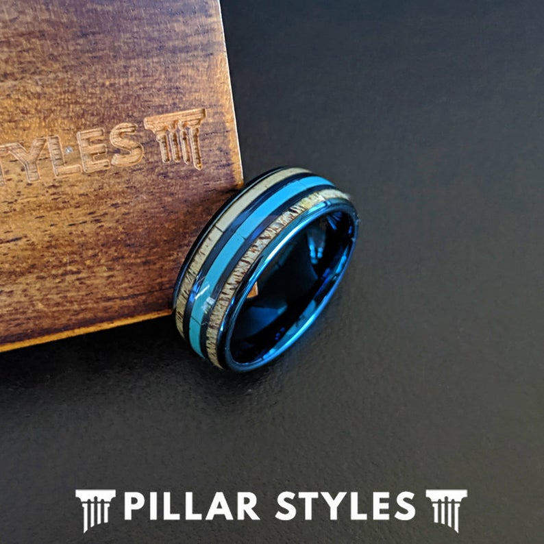 Blue Mens Turquoise Ring Tungsten Wedding Band Deer Antler Ring - Pillar Styles