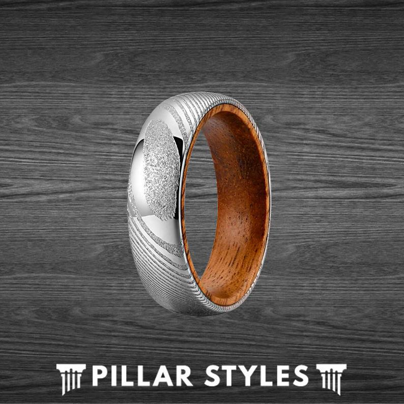6mm Wood and Damascus Ring Mens Wedding Band Koa Wood Ring - Silver Damascus Steel Ring - Pillar Styles
