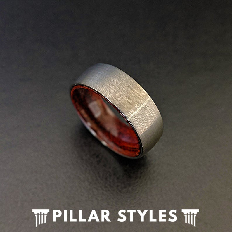 Unique Wood Ring Silver Tungsten Wedding Band Mens Ring - 8mm Rosewood Ring for Men - Pillar Styles