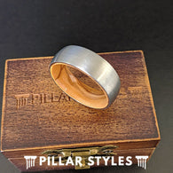 Oak Wood Ring Mens Wedding Band - Silver Tungsten Mens Ring Whiskey Barrel Ring - Pillar Styles