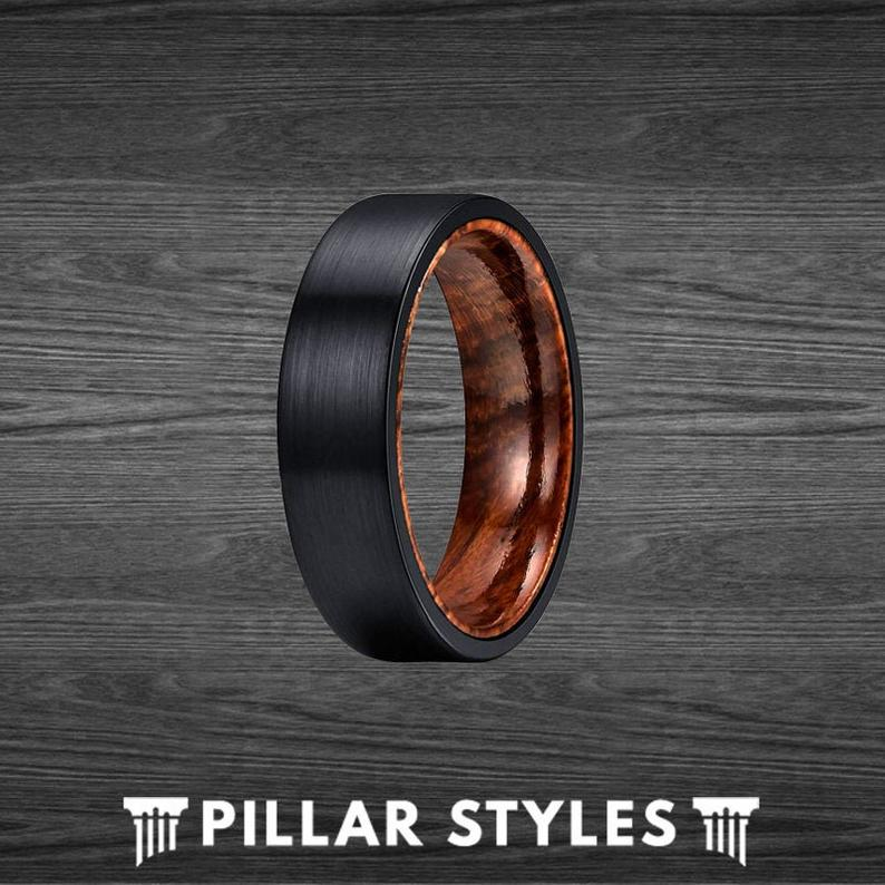 6mm Rose Wood Ring Mens Wedding Band - Black Tungsten Ring for Him - Pillar Styles