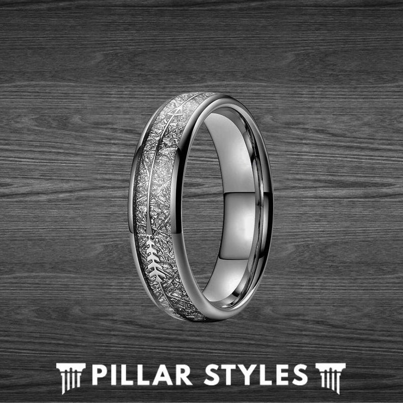 6mm Meteorite Ring Mens Wedding Band Arrow Ring - Tungsten Ring with Meteorite Inlay - Pillar Styles