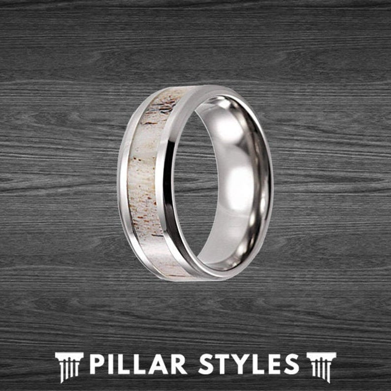 8mm & 3mm Deer Antler Ring Mens Wedding Band Titanium Ring - Antler Wedding Ring Couples Ring Set - Pillar Styles