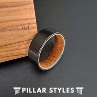 Flat Whiskey Barrel Ring Mens Wedding Band Wood Ring - Pillar Styles