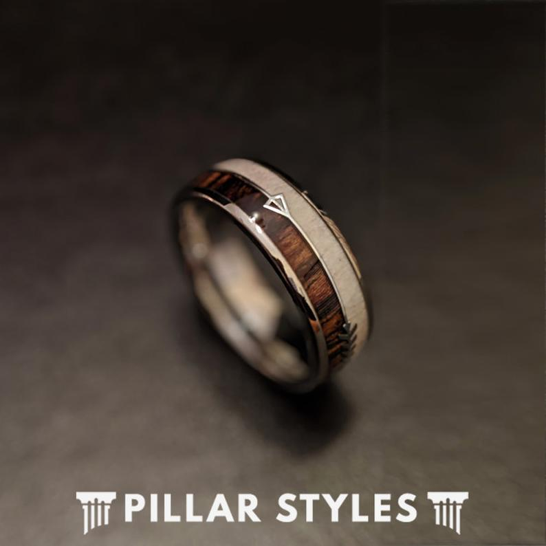 Deer Antler Ring with Arrow Inlay Zebra Wood Ring Tungsten Wedding Band Mens Ring - Pillar Styles