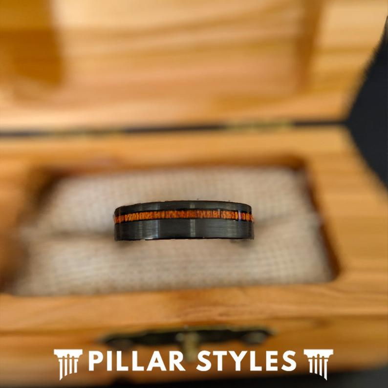 6mm Koa Wood Ring Mens Wedding Band Tungsten Ring - Unique Wood Wedding Ring - Pillar Styles