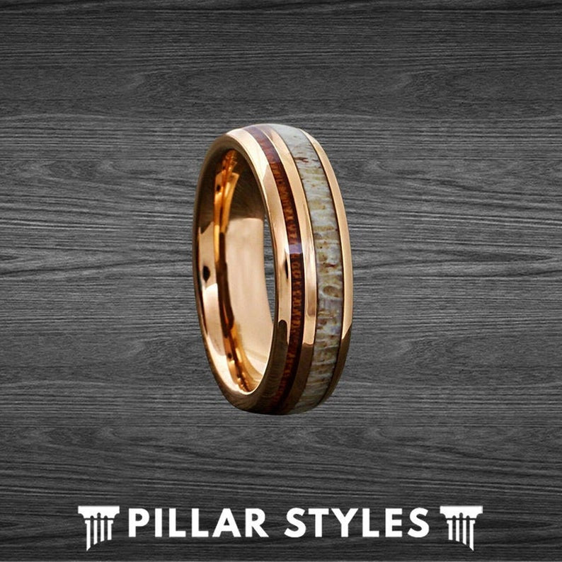 Thin Rose Gold Ring Koa Wood Wedding Band Tungsten Ring - Deer Antler Ring - Unique Koa Wood Ring - Pillar Styles