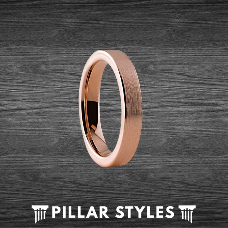4mm Thin Rose Gold Ring Tungsten Wedding Bands Womens Ring with Brushed Rose Gold - Pillar Styles
