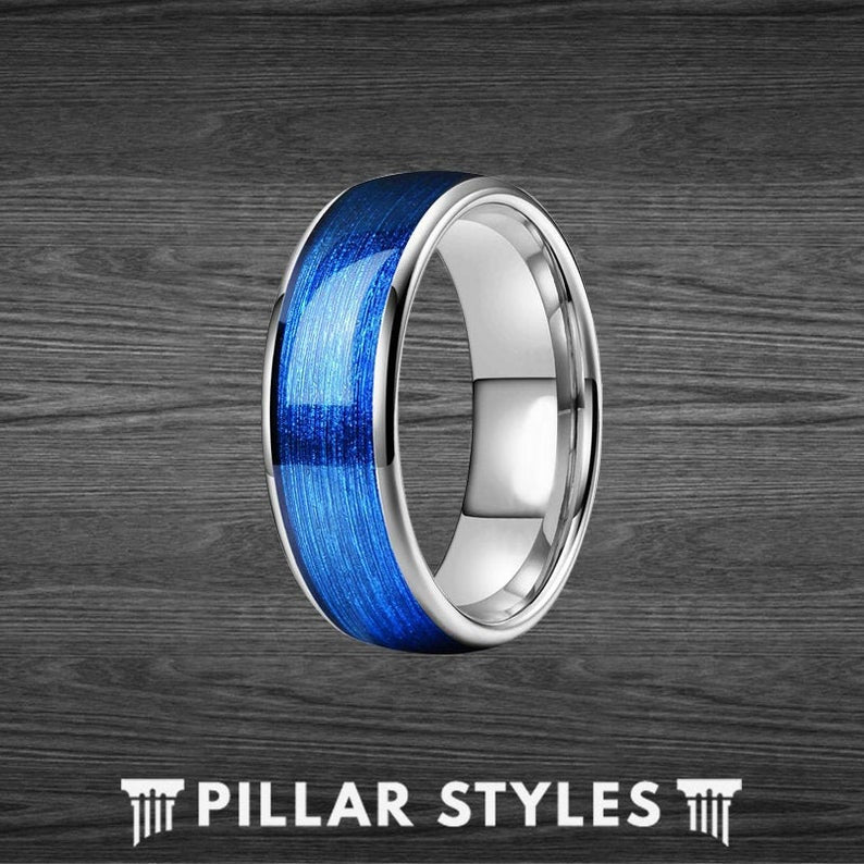 Silver & Ocean Blue Ring Mens Wedding Band Steel Wire Ring - Blue Tungsten Ring for Men - Pillar Styles