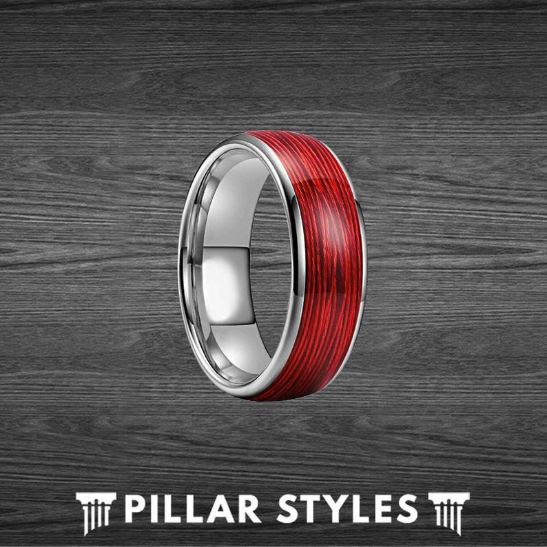 Tungsten Red Ring Mens Wedding Band Wire Ring - Comfort Fit Mens Rings - Pillar Styles