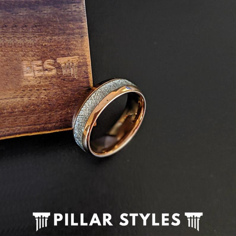 Meteorite Rose Gold Ring Tungsten Wedding Bands - Pillar Styles