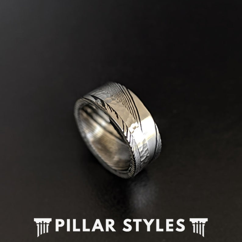 Damascus Steel Ring with Hammered Inlay - 8mm Damascus Ring Unique Mens Wedding Band - Pillar Styles