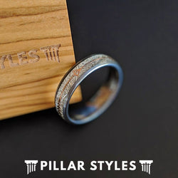 6mm Meteorite Ring Mens Wedding Band Arrow Ring - Rose Gold Tungsten Ring - Unique Mens Ring - Pillar Styles