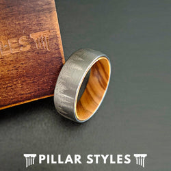 Silver Tungsten Wedding Band with Forest Etching & Oak Wood Ring - Pillar Styles