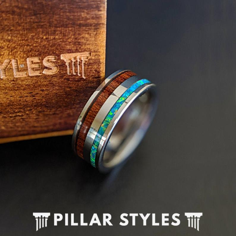 Wood & Opal Ring Tungsten Wedding Band Mens Ring Green Fire Opal Ring - Pillar Styles