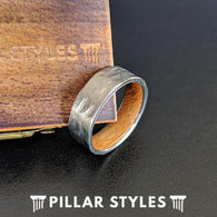 Whiskey Barrel Ring Mens Wedding Band - Silver Titanium Wood Ring - 8mm Bourbon Whiskey Wood Wedding Ring for Men - Pillar Styles