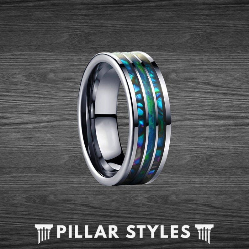 8mm Abalone Ring Tungsten Wedding Band Mens Ring - Unique Abalone Shell Ring - Pillar Styles