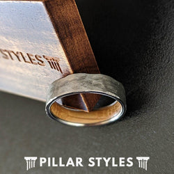 6mm Mens Whiskey Barrel Ring Silver Titanium Wedding Band - Bourbon Whiskey Wood Rings for Men - Pillar Styles