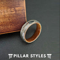 Thin Damascus Steel Rings Mens Wedding Band Koa Wood Ring 6mm Silver Damascus Ring with Wood Inlay - Pillar Styles