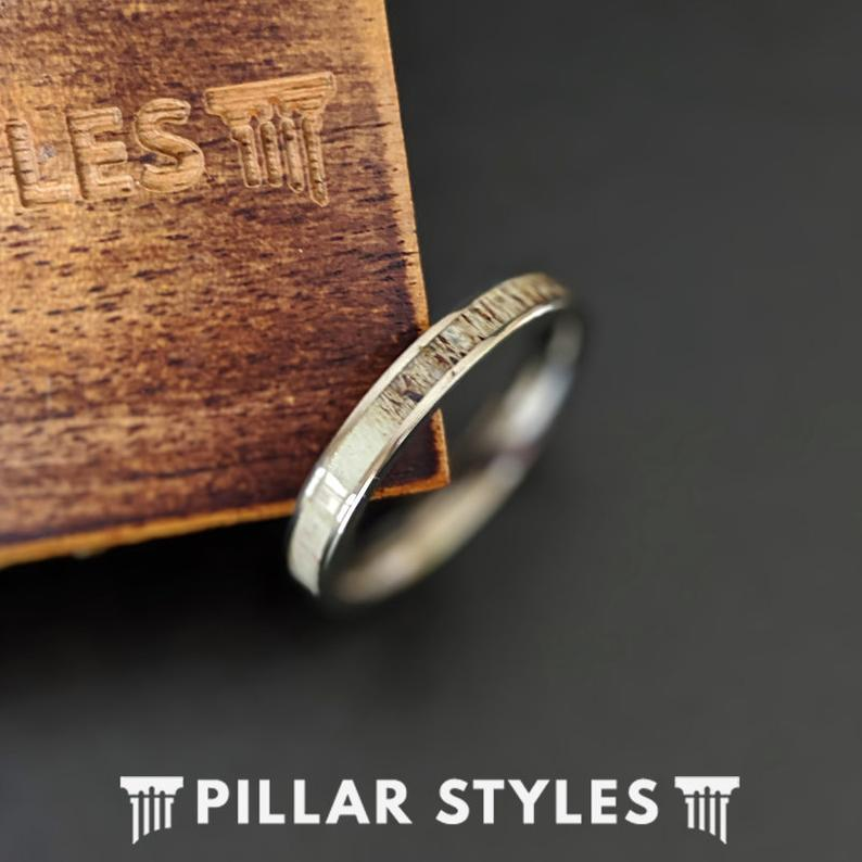3mm Thin Deer Antler Ring Titanium Wedding Bands Womens Ring - Unique Silver Antler Rings for Women - Pillar Styles