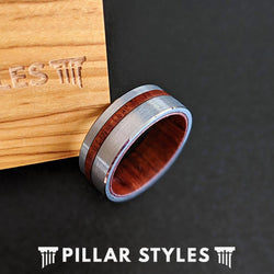 8mm Koa Wood Ring with Offset Inlay Brushed Silver Tungsten Ring - Pillar Styles
