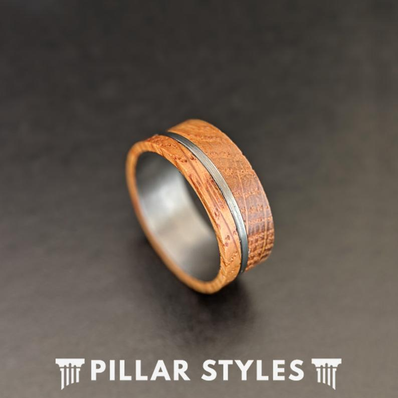 Whiskey Barrel Ring Offset Inlay Tungsten Ring 8mm Mens Wedding Band Bourbon Whisky Ring - Pillar Styles