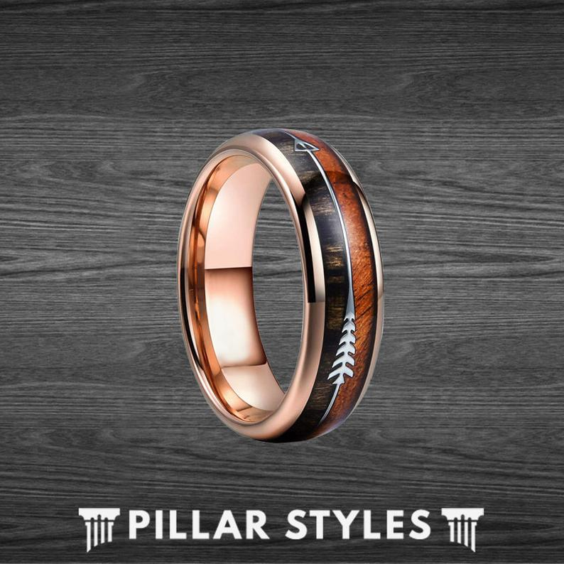6mm Koa Wood Ring Mens Wedding Band Rose Gold Ring - Pillar Styles