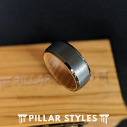 Beveled Whiskey Barrel Ring Mens Wedding Band Tungsten Ring Gunmetal Wood Ring - Pillar Styles