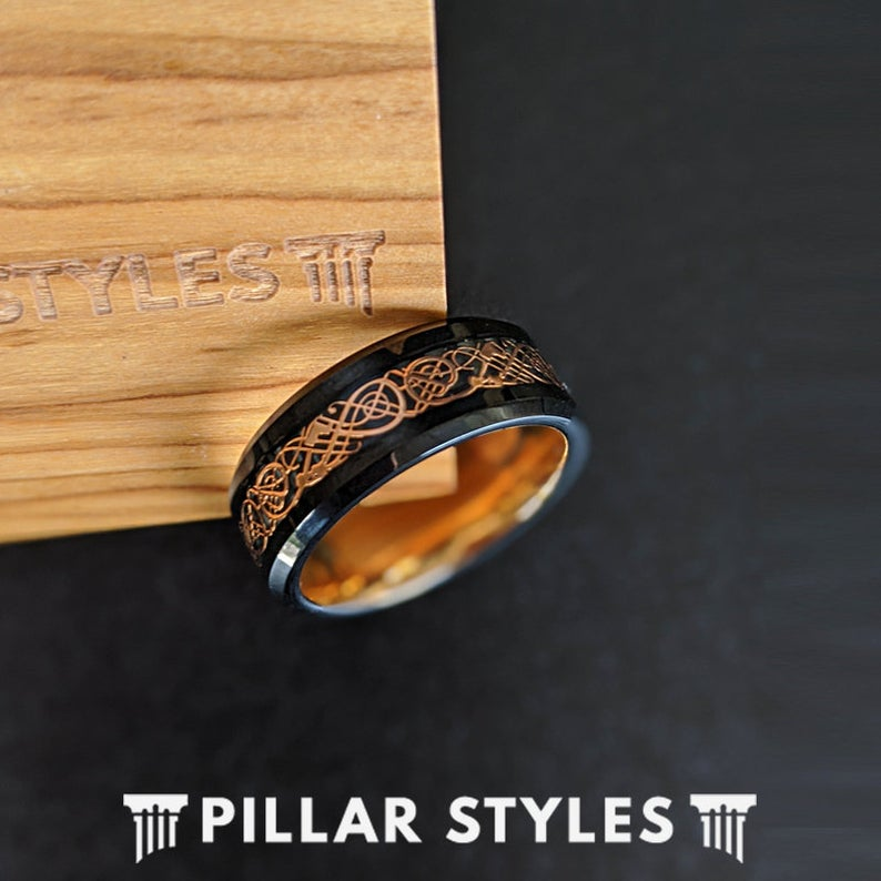 18K Rose Gold Ring Mens Viking Ring - Tungsten Wedding Band Celtic Knot Ring - Pillar Styles