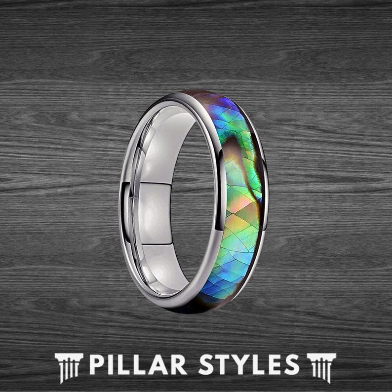 6mm Abalone Shell Ring Tungsten Wedding Band Womens Ring - Pillar Styles