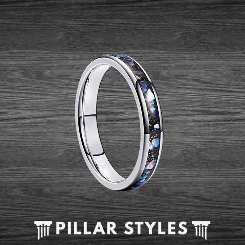 Thin Abalone Ring Tungsten Wedding Bands Women Purple Ring - Pillar Styles