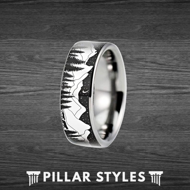 Fir Tree Ring Black Mountain Range with Wolves and Forrest Trees - 8mm Unique Mens Wedding Band Nature Ring - Pillar Styles