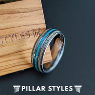 Mens Turquoise Ring with Antler Inlay 8mm Mens Wedding Band Tungsten Ring Deer Antler Rings
