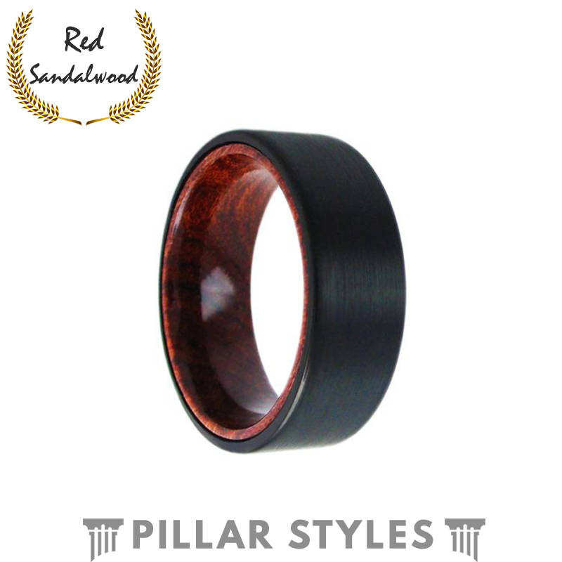 Black Brushed Tungsten Ring with Sandalwood Inlay - Pillar Styles