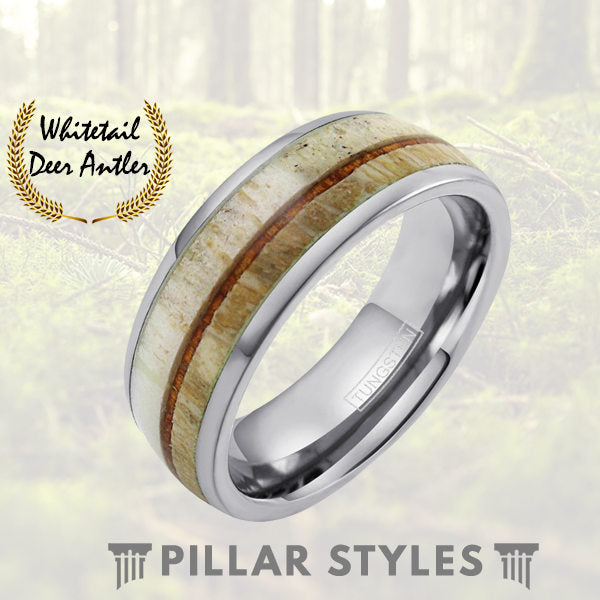 Deer Antler Ring Koa Wood Inlay Tungsten Mens Wedding Band - Pillar Styles