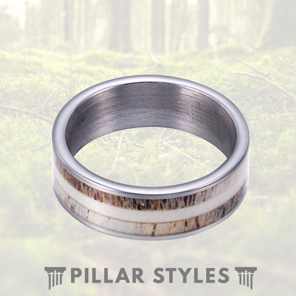 Two Tone Whitetail Deer Antler Ring 8mm Mens Tungsten Wedding Band - Pillar Styles