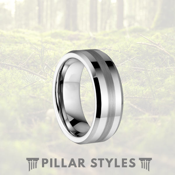 Silver Tungsten Wedding Ring Brushed Center & Beveled Edges - Pillar Styles