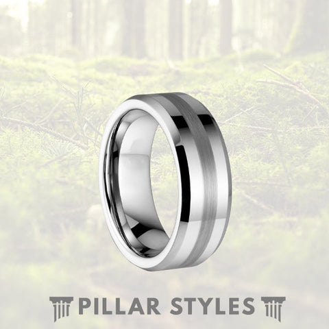 Silver Tungsten Ring with Brushed Center - Pillar Styles