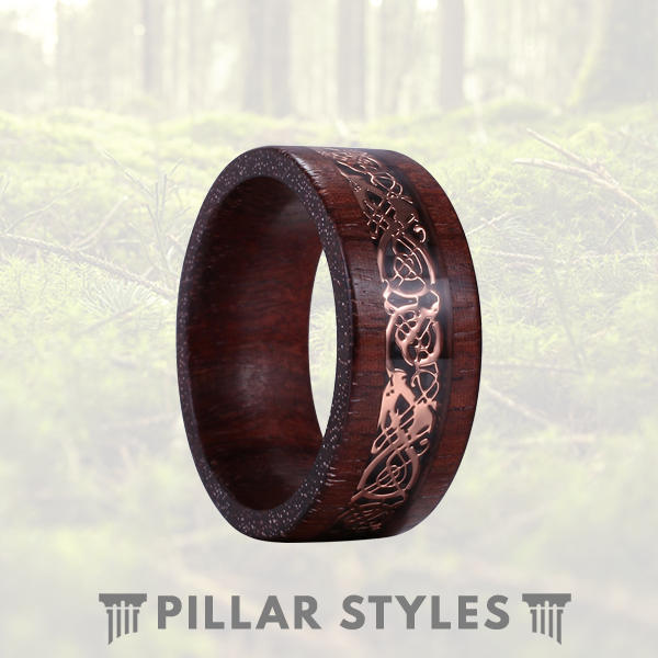 Sandalwood Ring with Rose Gold Celtic Knot Ring 8mm Mens Wedding Band - Pillar Styles