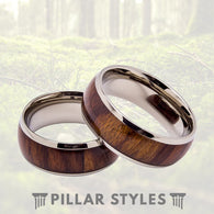 Titanium Ring with Premium Rosewood Inlay 8mm Titanium Mens Wedding Band - Pillar Styles