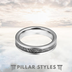 4mm Meteorite Tungsten Wedding Band - Pillar Styles