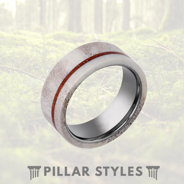 Whitetail Antler Ring with Koa Wood Inlay Tungsten Ring - Pillar Styles