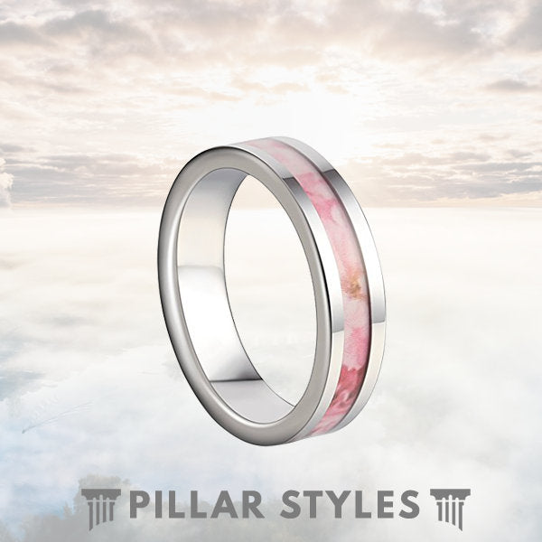 Tungsten Wedding Band Womens Floral Wedding Band - Pillar Styles