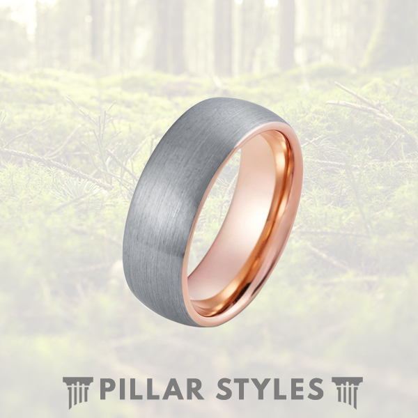 Tungsten 18K Rose Gold Ring Silver Tungsten Ring 8mm Mens Wedding Band - Pillar Styles