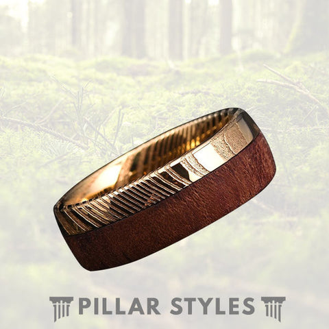 Gold Damascus Steel Ring with Rare Bubinga Wood Ring 8mm - Pillar Styles
