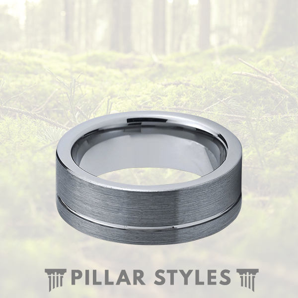 Tungsten Wedding Ring Brushed Silver Ring with Polished Offset Pipe Cut - Pillar Styles