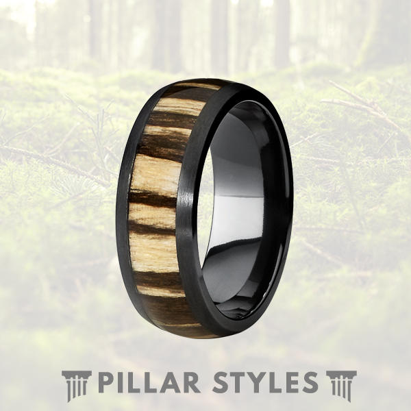8mm Black Titanium Ring with Zebra Wood Inlay - Pillar Styles