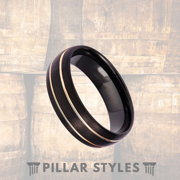 Black Tungsten Wedding Band Mens 18K Rose Gold Tungsten Ring - Pillar Styles